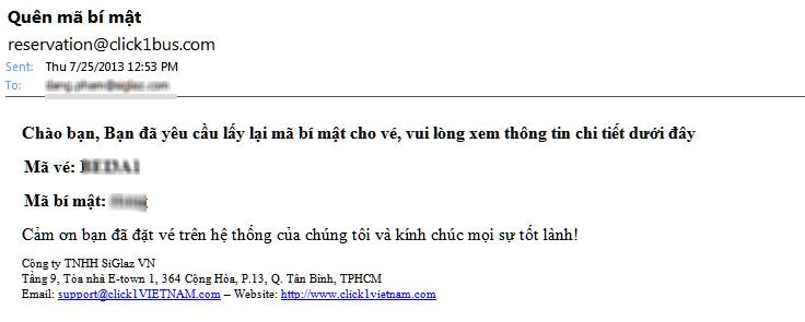 Email gửi mã bí mật đến quý khách