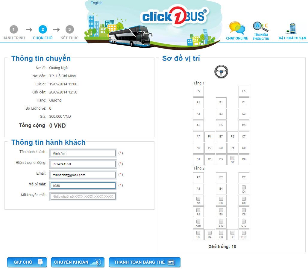 Chọn chỗ và điền thông tin hành khách