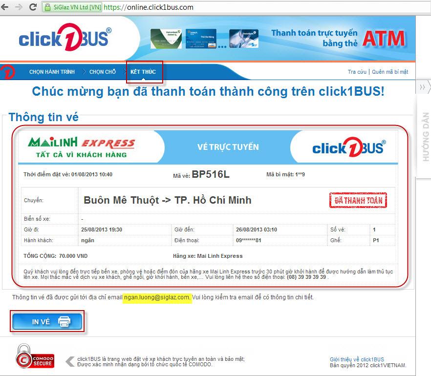 Thông tin vé trực tuyến