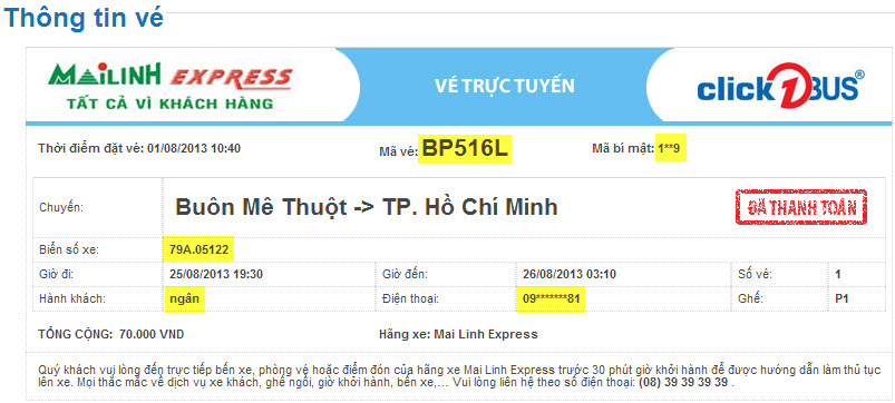 Thông tin quan trọng trên vé trực tuyến