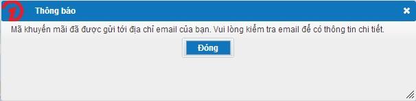 Thông báo gửi mã khuyến mãi thành công