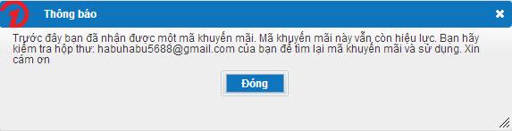 Thông báo email đã nhận khuyến mãi