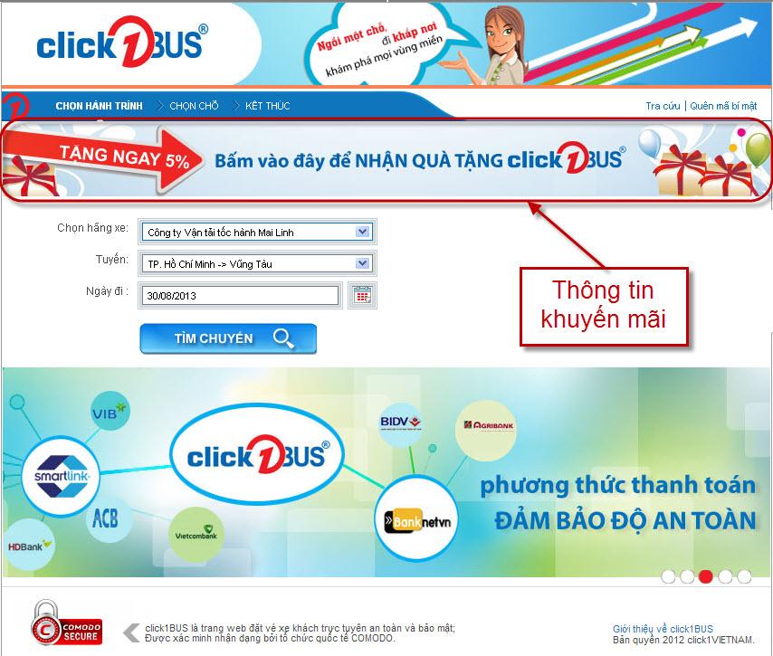 Thông tin chương trình khuyến mãi trên click1BUS