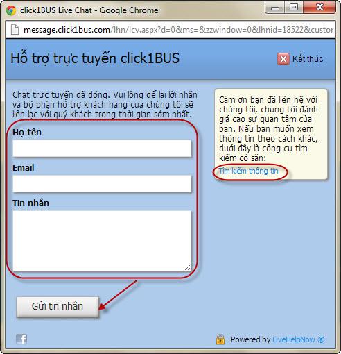 Cửa sổ nhập thông tin gửi email đến click1BUS