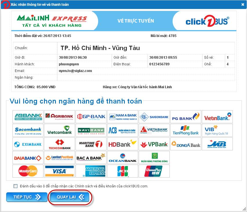 Thay đổi thông tin vé