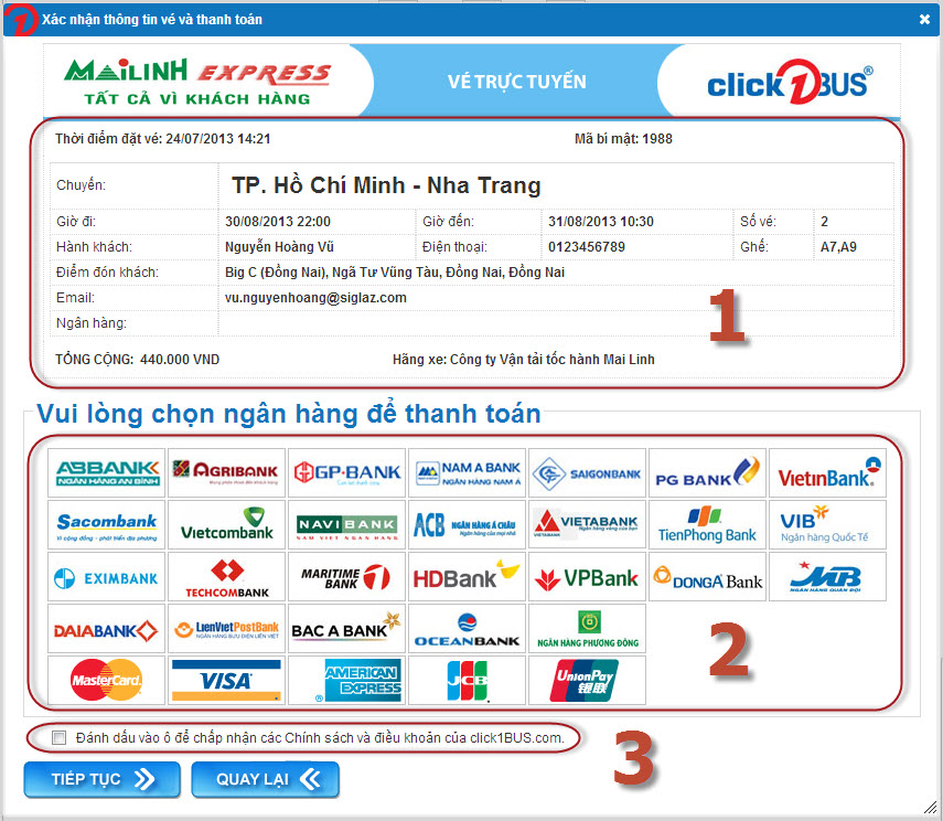Xác nhận thông tin vé